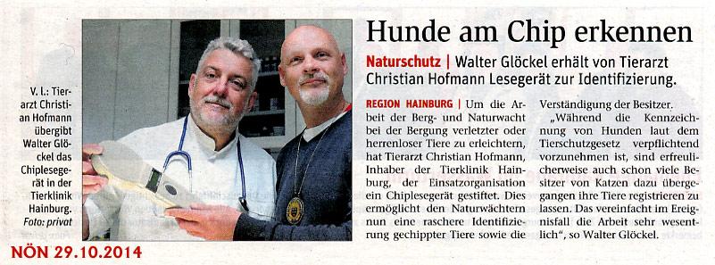 Artikel der NÖN zur Spende des Chip-Lesegerätes an die NÖ Berg- und Naturwacht Hainburg | (C) by NÖN